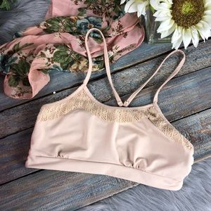 POL Nude Strappy Cage Back Lace Bralette NWT